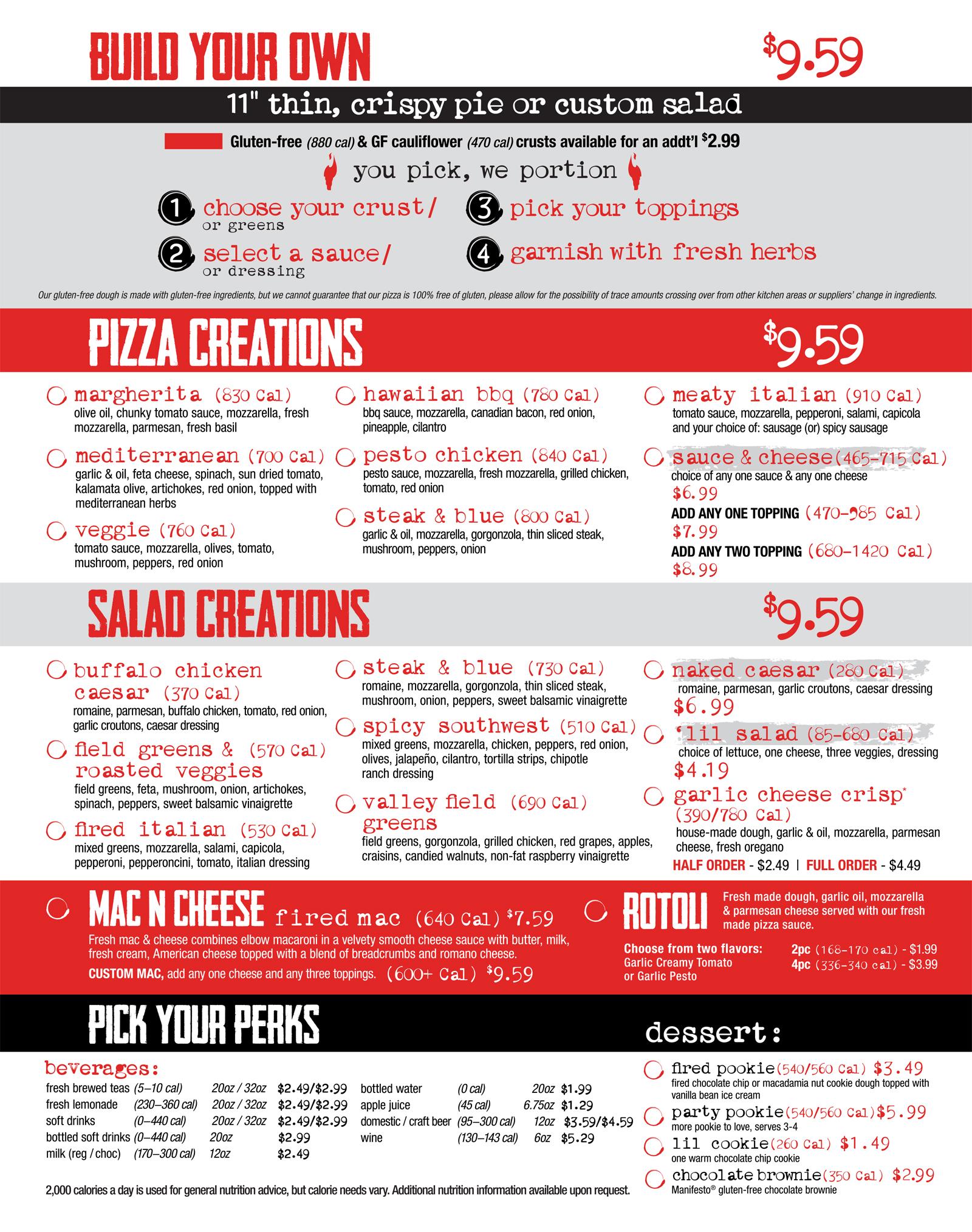 your pie menu prices